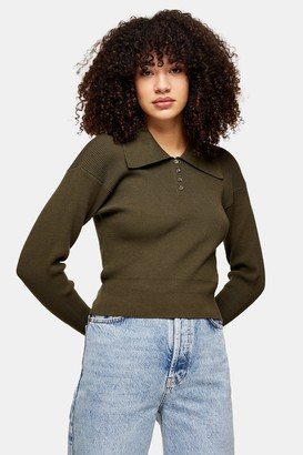 Topshop Womens Khaki Oversized Collar Knitted Top - Khaki