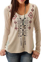Roper Beige Embroidered Top