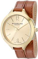 Stuhrling Original Women's 568.04 Leisure Soiree Deauville Sport Swiss Quartz Beige Leather Wrap-Around Strap Watch