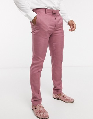 Topman skinny fit suit trousers in pink