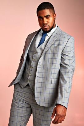 BoohoomanBoohooMAN Mens Grey Big & Tall Skinny Fit Windowpane Blazer, Grey