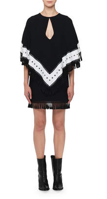 Andrew Gn Keyhole Fringed-Cape Mini Dress