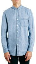 Topman Men's Slim Fit Washed Denim Shirt