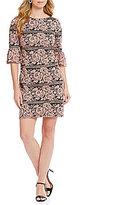 Jessica Howard Bell-Sleeve Lace Shift Dress