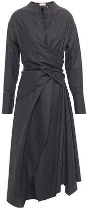Brunello Cucinelli Wrap-effect Bead-embellished Wool-felt Midi Dress