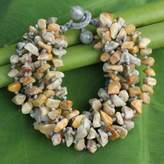 Enhanced Jasper Torsade Bracelet Artisan Crafted Jewelry, 'Yellow Gray Flow'
