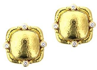 Elizabeth Locke 19K Yellow Gold & Diamond Cushion Stud Earrings