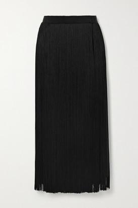 Prada Fringed Silk Crepe De Chine Midi Skirt - Black
