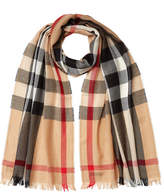 Burberry Wool-Cashmere Check Print Scarf