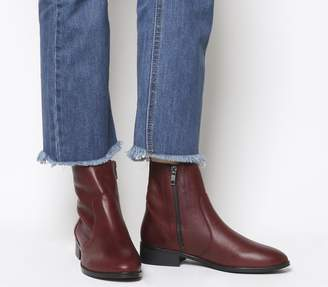 Office Ashleigh Flat Ankle Boots New Burgundy Leather