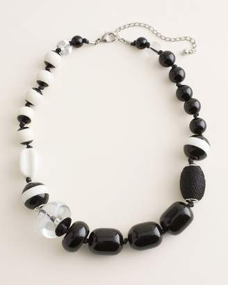Chico's Chicos Black and White Beaded Bib Necklace