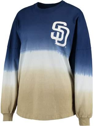 Fanatics Women's Navy San Diego Padres Oversized Long Sleeve Ombre Spirit Jersey T-Shirt