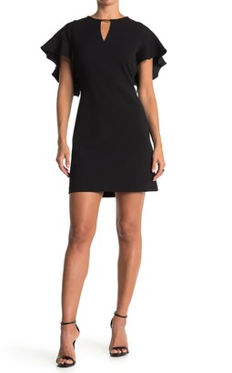London Times Keyhole Flutter Sleeve Mini Dress