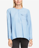 Vince Camuto TWO by Vince Split-Back Chambray Blouse
