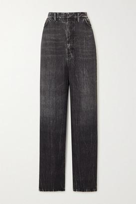 Balenciaga Printed Satin Wide-leg Pants - Black