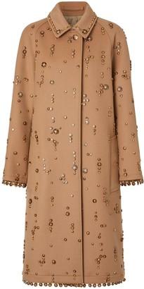 Burberry Embellished Wool Cashmere Car Coat