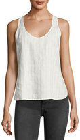 Frame Racerback Striped-Linen Tank Top, White