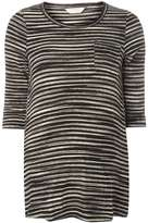 **Maternity Black and Beige Striped Top