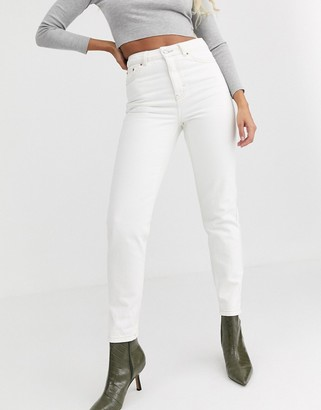 Topshop mom jeans in off white