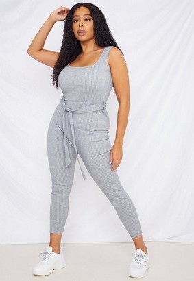 Missguided Size Grey Scoop Neck Unitard Playsuit