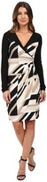 Laundry by Shelli Segal Printed Matte Jersey Faux Wrap Dress with Mesh Detail
