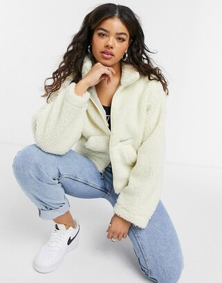 Nike cropped borg fleece jacket in cream