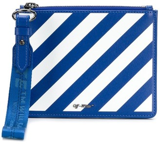 Off-White diagonal stripe clutch