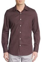 Perry Ellis Slim-Fit Polka Dot Cotton Sportshirt