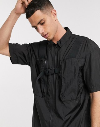ASOS utility shirt with 3D pockets in black nylon