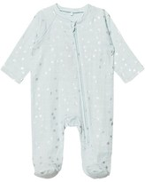 Aden Anais Aden + Anais Pale Blue with Silver Stars Long Sleeve Zipper Metallic Babygrow