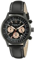 Stuhrling Original Monaco Men's Quartz Watch with Black Dial Analogue Display and Black Leather Strap 669.05