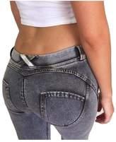 Bestgift Women's Cotton Slim Fit Elastic Low Waist Hip-up Faux Denim Skinny Pants M