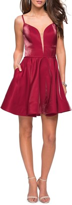 La Femme Satin Fit & Flare Cocktail Dress