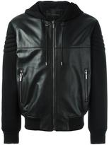 Versace mixed material bomber jacket