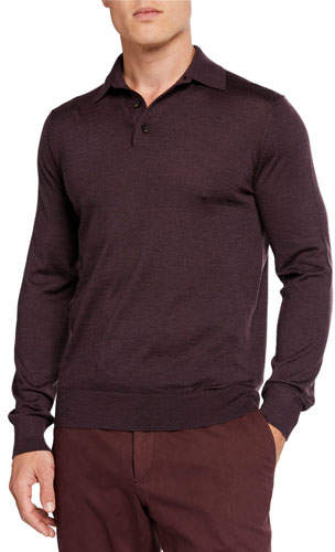 841735ee6f Men's Cashmere-Blend Long-Sleeve Polo Shirt