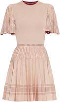 Alexander McQueen Pleated A-line intarsia-knit mini dress