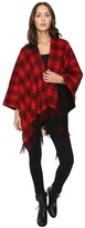 The Kooples Double-Sided Wool Check Poncho with Black Lining Women's Short Sleeve Pullover