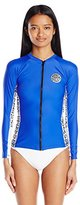 Rip Curl Women's Wetty Long-Sleeve Front-Zip UV Rashguard with Printed Side Panels