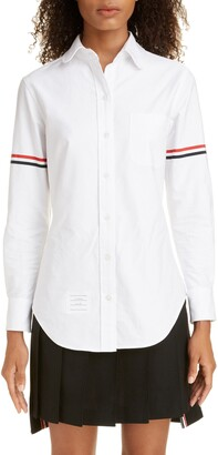 Thom Browne Grosgrain Band Cotton Poplin Shirt