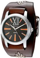 Nemesis Women's 'Roman Series' Quartz Stainless Steel and Leather Watch, Color:Brown (Model: BBF065KN)