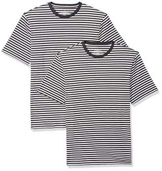 Amazon Essentials Loose-Fit Short-Sleeve Stripe Crewneck T-Shirts (Pack of 2) XS