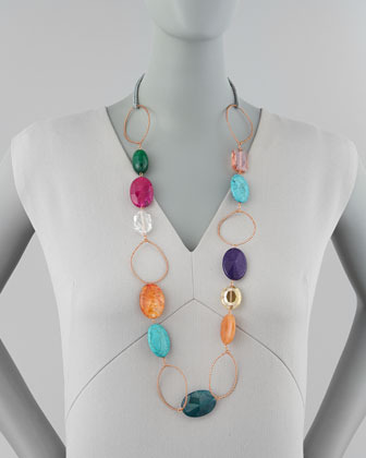 Panacea Multicolor Crystal-and-Wire Necklace