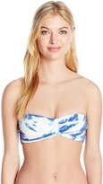 Lucky Brand Women's Fireworks Tie Dye Twist Bandeau Bikini Top with Strappy Back