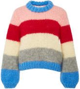 Ganni The Julliard Striped Mohair and Wool-Blend Sweater
