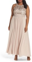 Eliza J Plus Size Women's Embellished Lace & Chiffon Gown