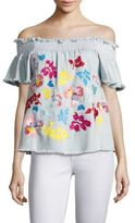 Tanya Taylor Carmen Fringed Embroidered Top