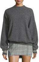 Alexander Wang Crystal-Cuff Crewneck Sweater