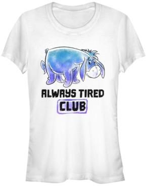 Fifth Sun Women's Winnie the Pooh Eeyore Tired Club Short Sleeve T-shirt