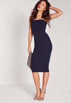 Missguided Layered Bandeau Midi Dress Navy