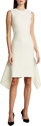 Alexander McQueen Textured Asymmetric Wool-Blend Dress